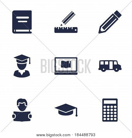 Set Of 9 Science Icons Set.Collection Of Academic Hat, Textbook, Calculate And Other Elements.