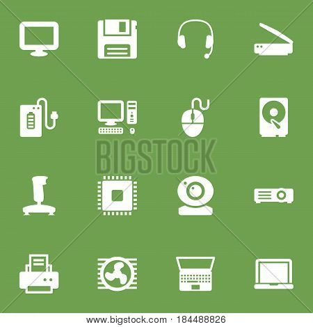 Set Of 16 Notebook Icons Set.Collection Of Joystick, Headset, Laptop And Other Elements.