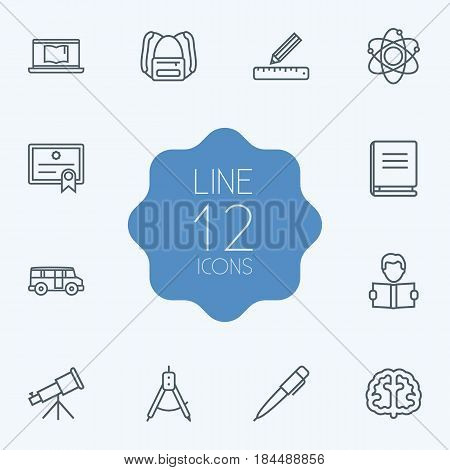 Set Of 12 Studies Outline Icons Set.Collection Of Laptop, Pen, Bus And Other Elements.