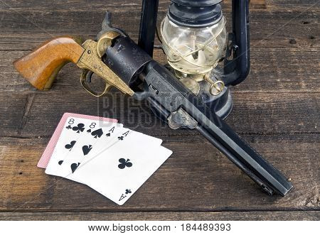 Dead man's hand ace's and eights in the old wild west.