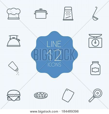 Set Of 12 Cooking Outline Icons Set.Collection Of Grater, Jug, Pan And Other Elements.