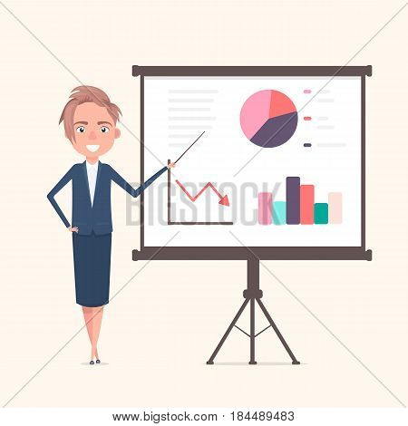Business woman with presenting his report through infographics. Vector illustration in a flat style