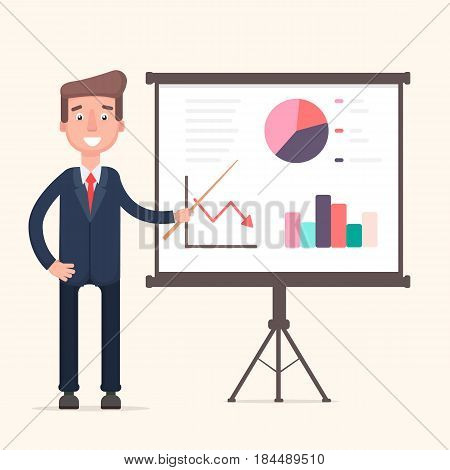 The man with presenting his report through infographics. Vector illustration in a flat style