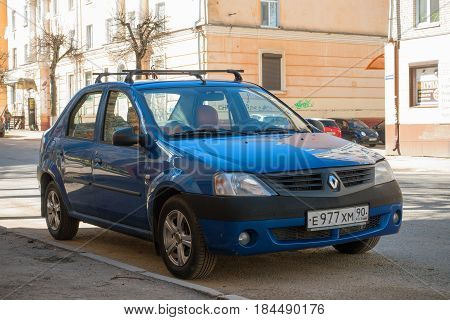 Moscow, Russia - April 24, 2017: Renault Dacia Logan parked on the street of Smolensk City.