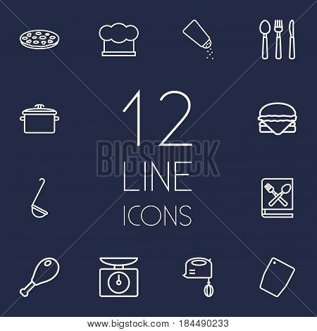 Set Of 12 Culinary Outline Icons Set.Collection Of Chicken Leg, Mixer, Ladle And Other Elements.