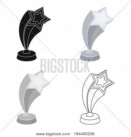Cup in the shape of silver stars flying upward. Award for best performance of secondary roles.Movie awards single icon in cartoon style vector symbol stock web illustration.