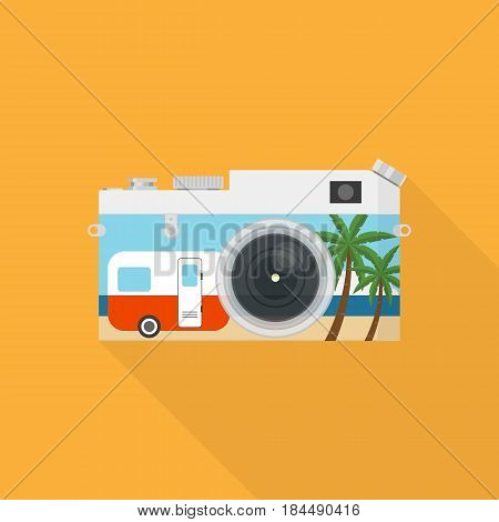 Double exposure of a camera and sea landscape travel concept flat design vector illustration