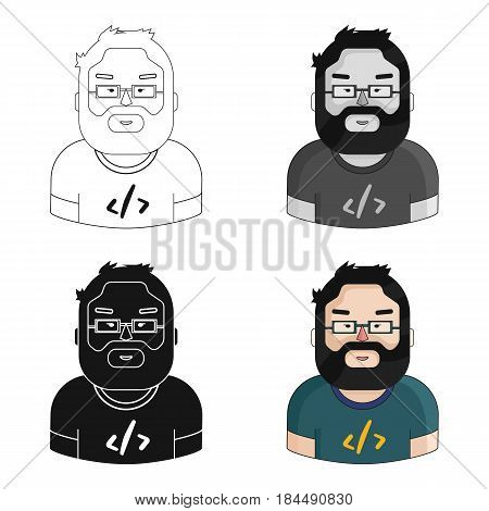 Programmer icon in cartoon style isolated on white background. People of different profession symbol vector illustration.
