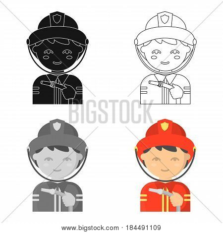 Fireman icon cartoon style. Single silhouette fire equipment icon from the big fire Department cartoon.