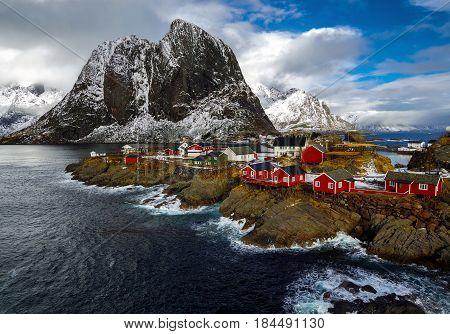 Hamnoy village in Lofoten islands of Norway in winter time.