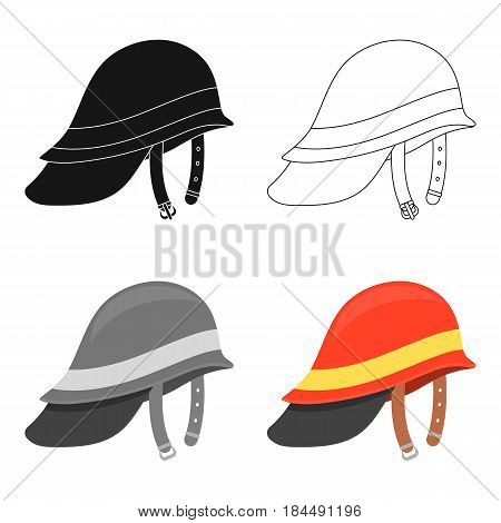 Firefighter Helmet icon cartoon style. Single silhouette fire equipment icon from the big fire Department cartoon.