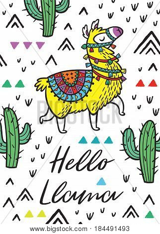 Hello print. Vector card with Llama Alpaca.