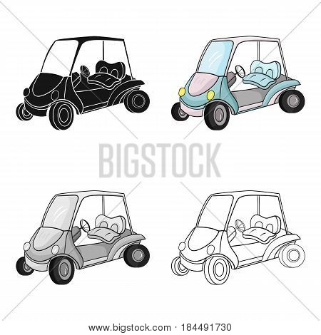 Golf cart icon in cartoon style isolated on white background. Golf club symbol vector illustration.