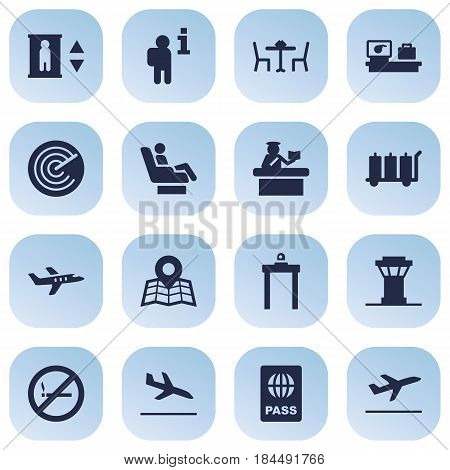 Set Of 16 Aircraft Icons Set.Collection Of Letdown, Metal Detector, Vip And Other Elements.