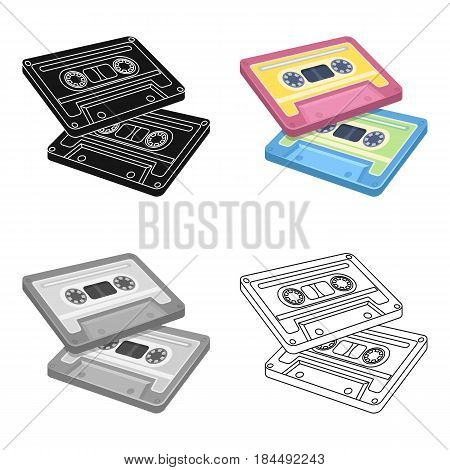Cassettes for tape recorder.Hippy single icon in cartoon style vector symbol stock illustration .