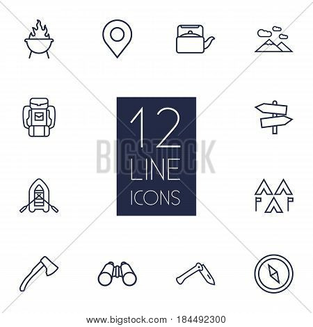 Set Of 12 Camping Outline Icons Set.Collection Of Penknife, Place Pointer, Binoculars And Other Elements.