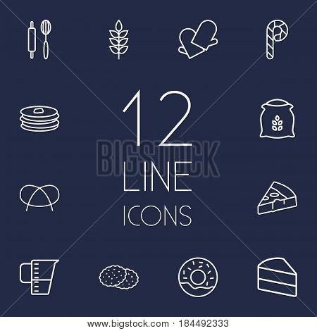 Set Of 12  Outline Icons Set.Collection Of Candy Cane, Gloves, Cookie Elements.