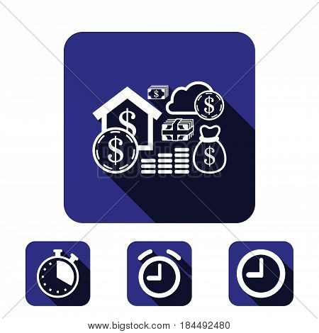 dollar money set icon stock vector illustration flat design