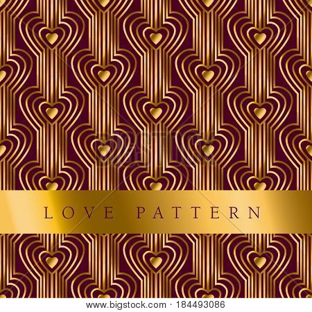 gold vector pattern with heart in art deco style