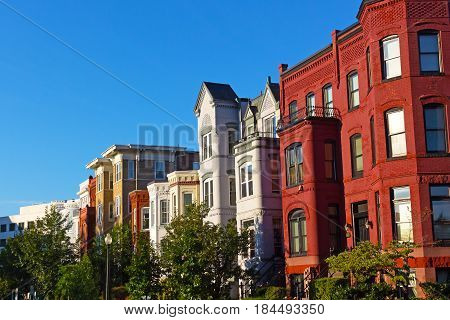 Capitol Hill's colorful architecture Washington DC. Urban residential neighborhood of US capital.