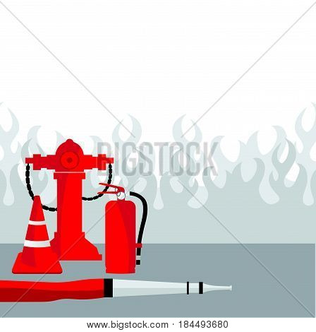 Fire fighting,  equipment, Vector illustration, background.Tools for fire fighting set