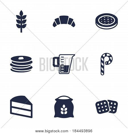 Set Of 9  Icons Set.Collection Of Pastry, Sack, Grain And Other Elements.