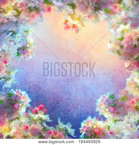 Spring cherry blossom vintage background. Sakura flowers on canvas. Painting on expressive shabby fabric texture
