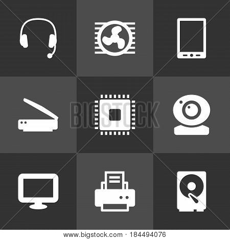 Set Of 9 Computer Icons Set.Collection Of Display, Peripheral, Record And Other Elements.