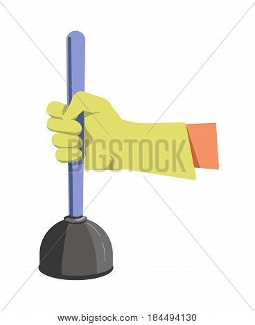 Hand in green lime rubber glove holds color plunger flat design isolated on white. Tool for cleaning consists of black head and blue wood handle. Vector illustration of instrument for unclog pipe.