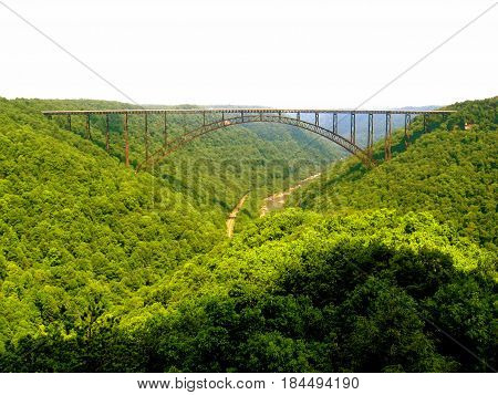 West Virginia's iconic New River Gorge Bridge near Fayetteville, WV.
