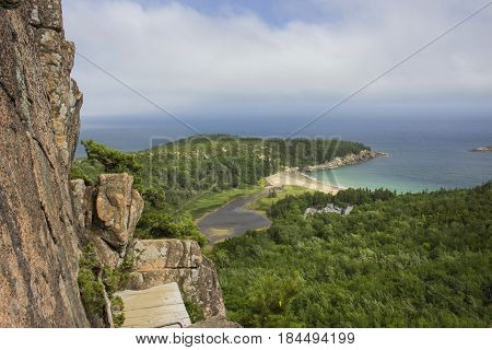 View from a high exposure Iron Rung trail in Acadia National Park.
