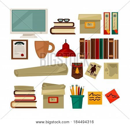 Office necessary equipment vector flat poster on white. Collection of colorful folders, pile of books, computer monitor, notes on papers, diploma in frame, brown cup, red lamp, strange masks.