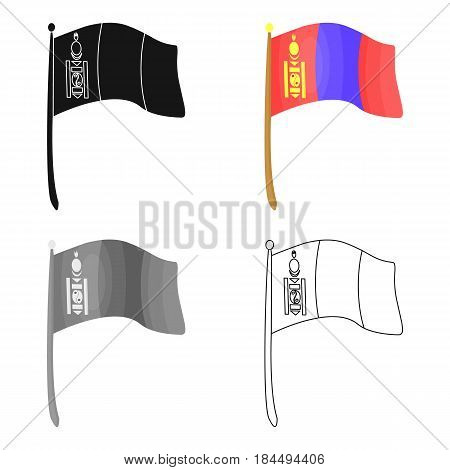The tricolor on the stick.National flag of Mongolia.Mongolia single icon in cartoon style vector symbol stock web illustration.