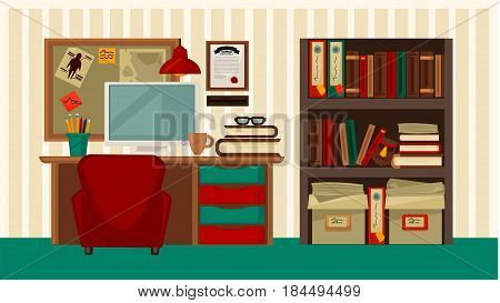 Comfortable workplace in house colorful vector flat illustration. Stylish place for working at home with wooden desk, computer device, books and documents keeping in bookcase and board for notes