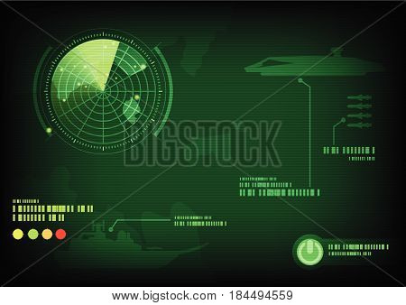 Green radar screen ,Vector illustration, backgrounds , war.