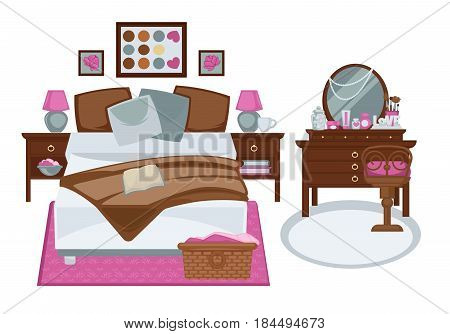 Glamour interior of girls bedroom in pink and white brown tones. Vector illustration of two bedside tables, wide bed, wicker basket with laundry, dark trellis with chair, three paintings on wall