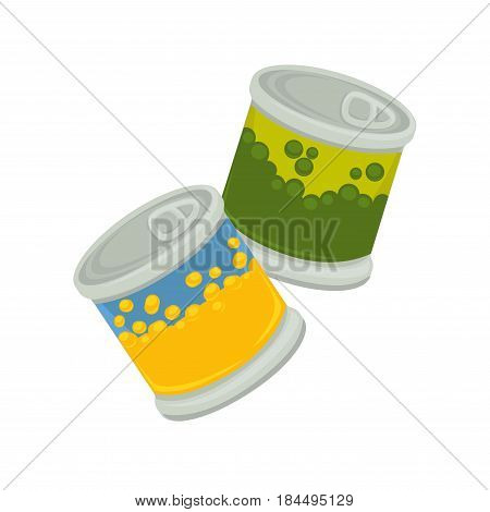 Little iron plastic banks with emblem of peas and corn isolated on white. Small jar with self-opening lid vector illustration of packaged products of yellow corns or green beans flat design.