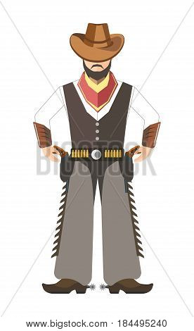 Bearded cowboy holds for two pistols under belt on white background. Man s face covered with wide brown hat. Lot of bullet on waistband and spurs on boots. Vector illustration in cartoon style