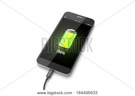 Smartphone charging concept. Mobile phone with green full battery. 3D illustration