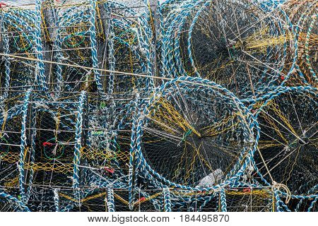 Closeup of crab cages used to bait lure and catch crabs for commercial or recreational use.