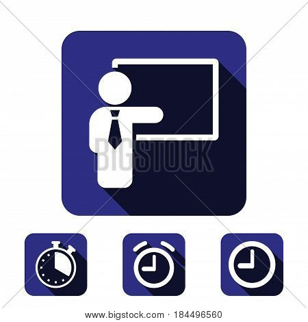 teacher and the Board icon stock vector illustration flat design