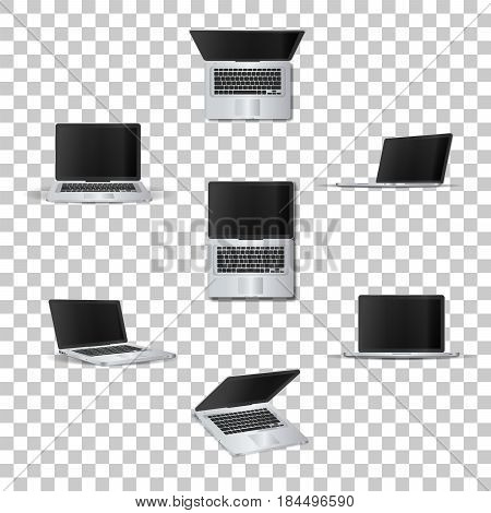 Laptop  on transparent background. Template framework. Insert your picture. Vector illustration.
