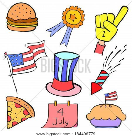 Collection stock memorial day doodles vector illustration