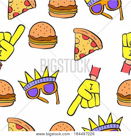 Collection stock of memorial day doodles vector art