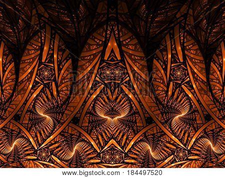 Abstract Intricate Orange Mosaic Ornament. Fantasy Fractal Background. Digital Art. 3D Rendering.
