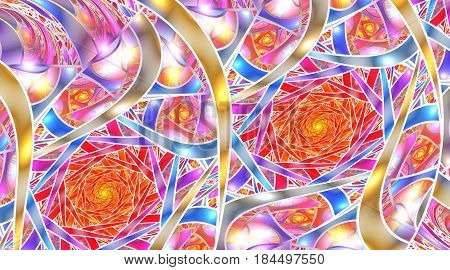Mosaic Roses. Abstract Intricate Background In Red, Golden, Pink And Blue Colors. Psychedelic Fracta