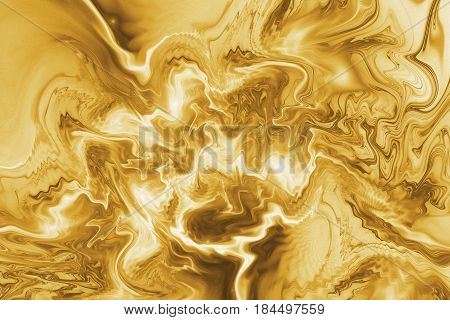 Abstract Golden Marble Texture. Fantasy Fractal Background In Yellow And Brown Colors. Digital Art.