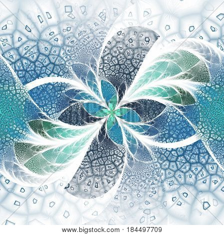Exotic Flower With Textured Petals. Abstract Symmetrical Floral Design In Blue And Green Colors. Fan