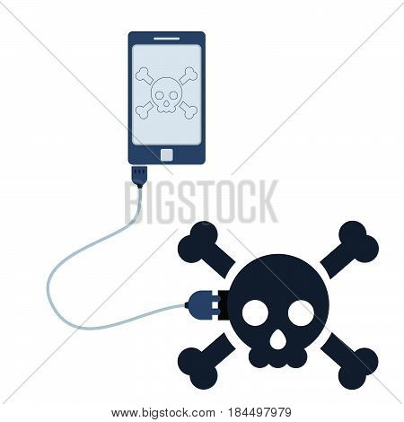 Skull symbol connected to a cell phone through a usb cable. Outline of the skull being shown on the mobile monitor. Flat design. Isolated.