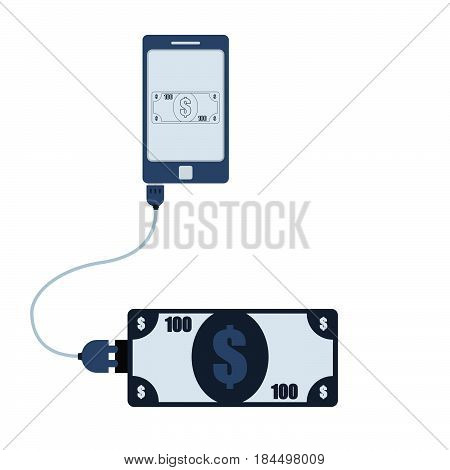 Money connected to a cell phone through a usb cable. Outline of the banknote being shown on the mobile monitor. Flat design. Isolated.